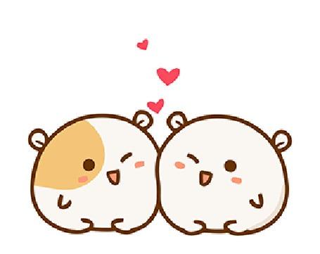 Анимация Два влюбленных хомячка