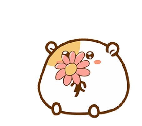 Анимация Хомячок с цветком
