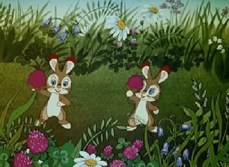 Анимация Два кролика с малиной, мультфильм Живая игрушка