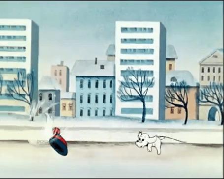 Анимация Щенок бежит по дороге за шапкой, мультфильм: Разрешите погулять с вашей собакой