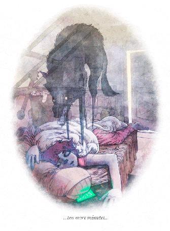Анимация Адский пес на спящем ребенке