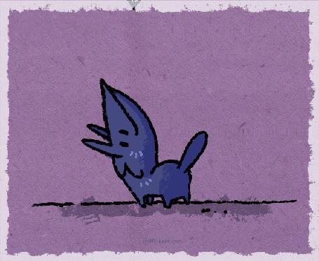 Анимация Синее животное, глотающее кубики