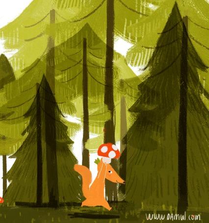 Анимация Лисичка с мухомором на мордочке бежит по лесу, by Oemul