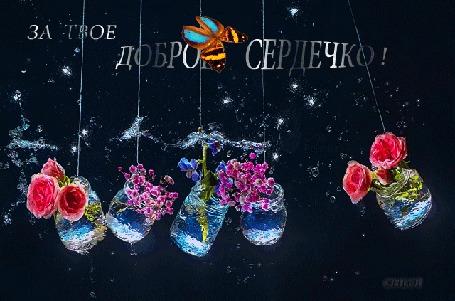 Анимация Банки с цветами плавно качаются (За твое доброе сердечко!)