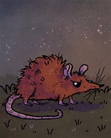 Анимация Большая рисованная крыса
