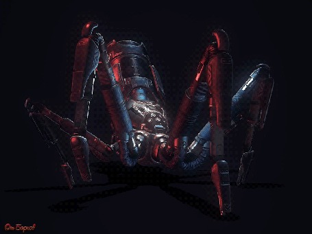 Анимация Шагающий паук-робот в 3D