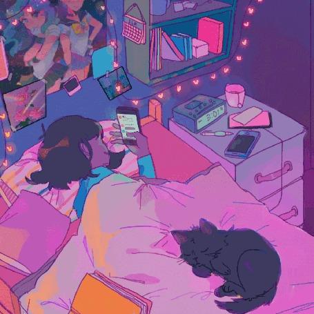 Анимация Девочка смотрит в телефон, лежа в постели
