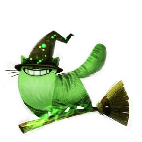 Анимация Зеленый кот в шляпке на метле, by Cryptid-Creations