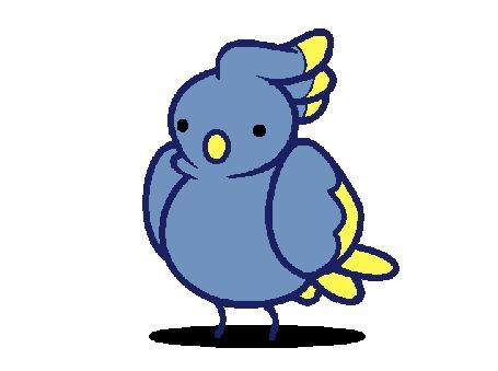 Анимация Синий попугай на белом фоне, by TheQueenOfKats
