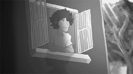 Анимация Темноволосый парень наблюдает из окна за другим парнем, by theIcecolo