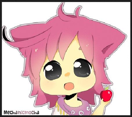 Анимация Чибик с розовыми волосами держит яблоко в руке, by MechanicMocha