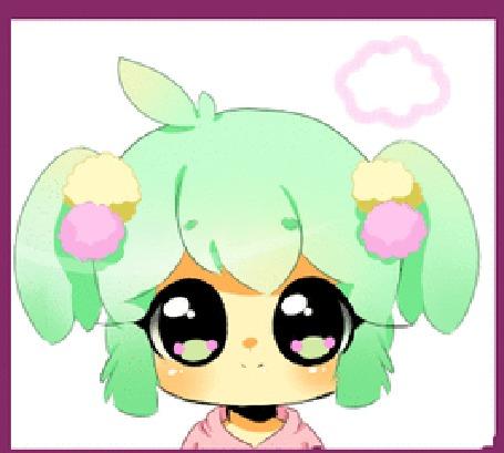 Анимация Зеленоволосый чибик со звериными ушками, by MechanicMocha
