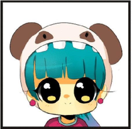 Анимация Чибик с голубыми волосами в шапке в виде собачки, by MechanicMocha