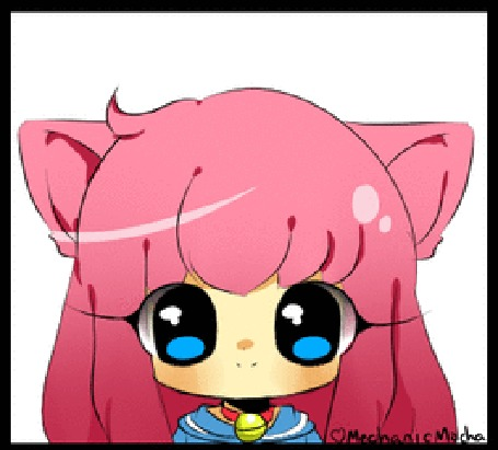 Анимация Длинноволосый чибик с розовыми волосами и кошачьими ушками, by MechanicMocha