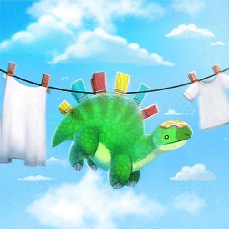 Анимация Динозаврик на прищепках висит на веревке среди вещей, на фоне неба с облаками, by Cryptid-Creations