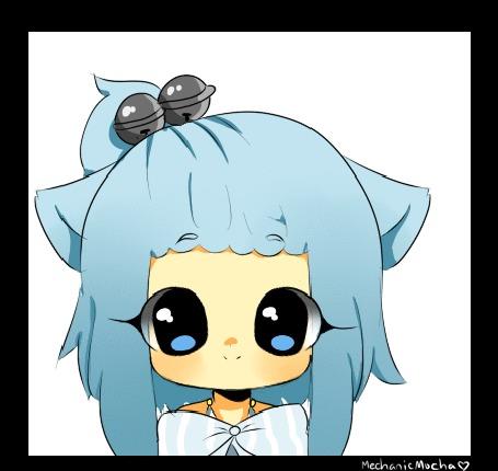 Анимация Чибик с голубыми волосами, с кошачьими ушками, by MechanicMocha