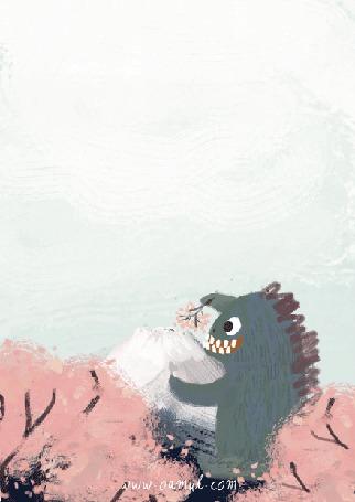 Анимация Динозаврик ест лаву, приправленную цветами сакуры, из вулкана, by Oemul