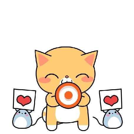 Анимация Рыжий котик кричит в мегафон (Yes! / Да!), рядом стоят две мышки с сердцем на плакате