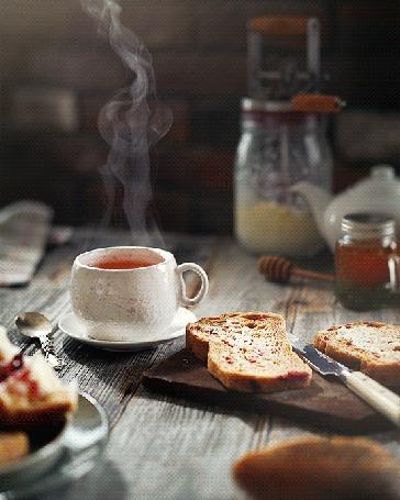 Анимация Чашка горячего чая на блюдце и нарезанный хлеб на столе, by daria khoroshavina