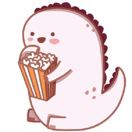 Анимация Динозаврик кушает попкорн