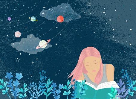 Анимация Девушка читает книгу, лежа в траве под ночным небом с планетами