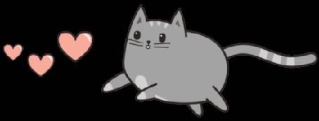 Анимация Серый котик бежит за сердечками