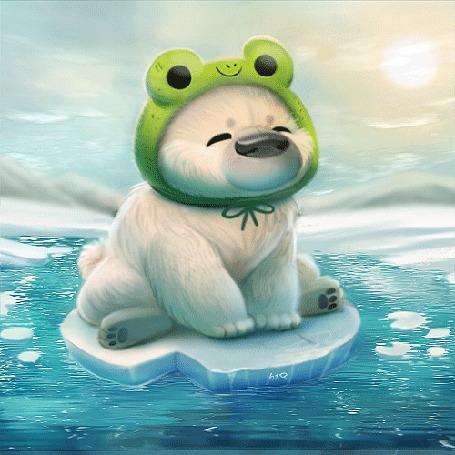 Анимация Белый мишка в забавной шапке-лягушки сидит на льдине, плывущей по воде, by Cryptid-Creations