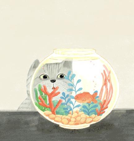 Анимация Кот следит взглядом за рыбкой в аквариуме, by BoRamKim