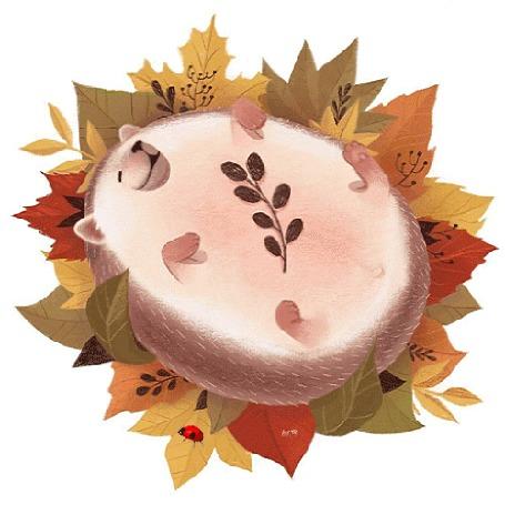 Анимация Еж лежит на осенней листве, by odnatamyara-Yaroslava Apollonova