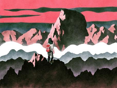 Анимация Девушка стоит на скале с рюкзаком за спиной
