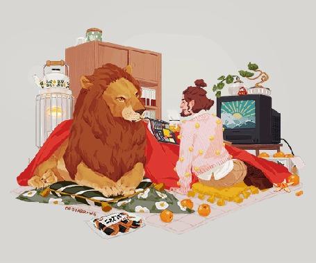 Анимация Мужчина сидит рядом со львом