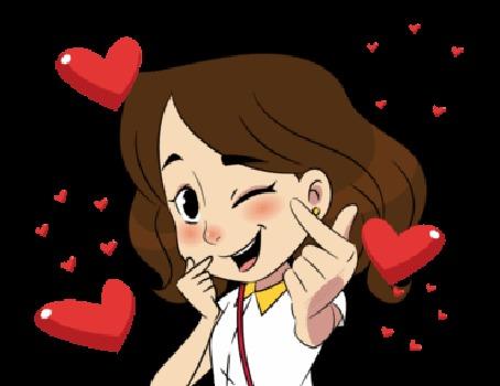 Анимация Девушка в сердечках