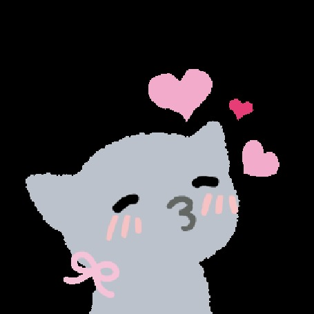 Анимация Серый котик среди сердечек