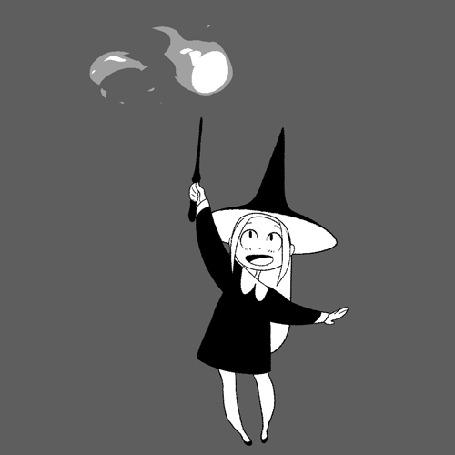 Анимация Ведьмочка колдует на сером фоне