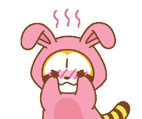 Анимация Смущающийcя енот в костюме кролика