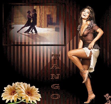 Анимация Девушка с длинными темными волосами в коричневой кофточке и белой юбке на фоне цветов и танцующей пары (TANGO)