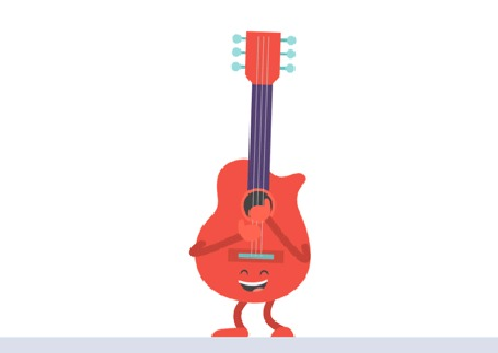 Анимация Играющая гитара на белом фоне, by KellerAC