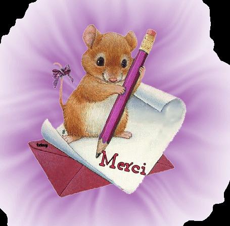 Анимация Мышка с карандашом в лапках на фоне конверта и помятого листка бумаги (merci)
