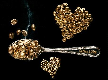 Анимация Лодка с зернами кофе на фоне зерен кофе в виде сердечек на черном фоне (Coffee love)
