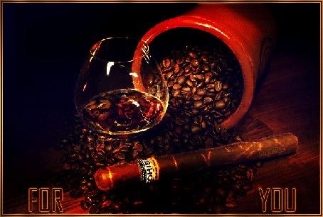 Анимация Зерна кофе, рассыпанные по поверхности на фоне бокала с вином и сигары, (FOR YOU), by КАЛИПСС