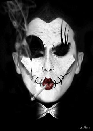 Анимация Мужчина с зашитым ртом курит сигарету, by L Rina