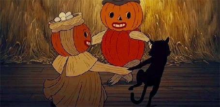 Анимация Черная кошка танцует со светильниками Джека