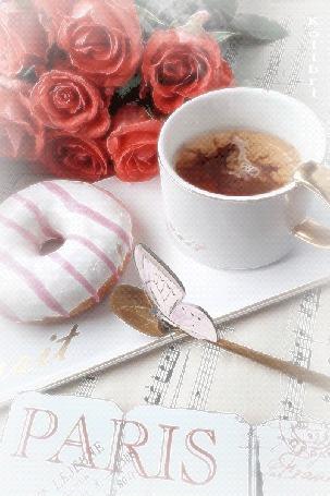 Анимация Кружка кофе, печенье, стоят на нотных листах, на фоне розовых роз и бабочки, (PARIS) BY Kolibri