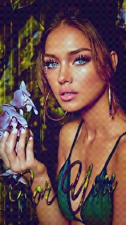 Анимация Шатенка с голубыми глазами держит в руке цветок орхидеи (For You)