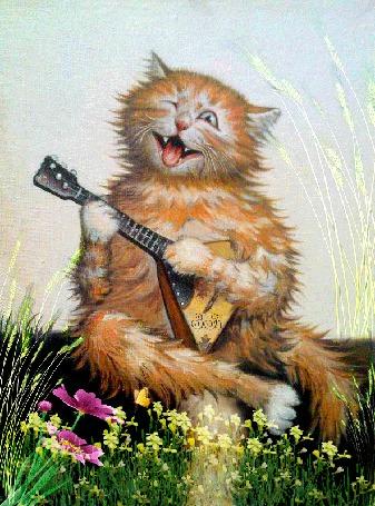 Анимация Рыжий кот играет на балалайке на фоне цветов, by З Б