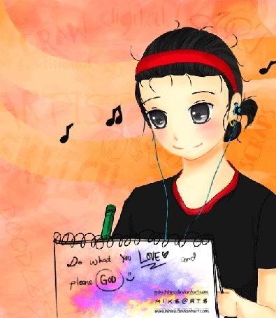 Анимация Девушка с наушниками что-то пишет, by mikichihiro