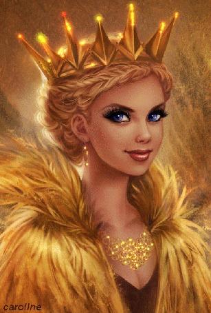 Анимация Голубоглазая блондинка в короне и меховой одежде, by caroline