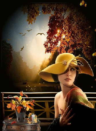 Анимация Девушка в шляпе на фоне осенних деревьев с летящими листьями, столика с букетом осенних листьев, by Art