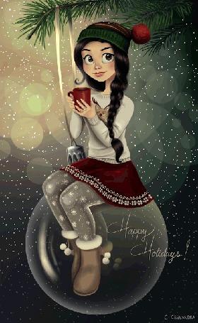 Анимация Девушка-брюнетка с длинными волосами собранными в косу держит в руке кружку с горячим чаем сидя на елочном шаре (Happy Holidays! / Счастливых праздников!) by C-Casandra