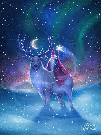 Анимация Дед Мороз с посохом сидит на олене под снегопадом